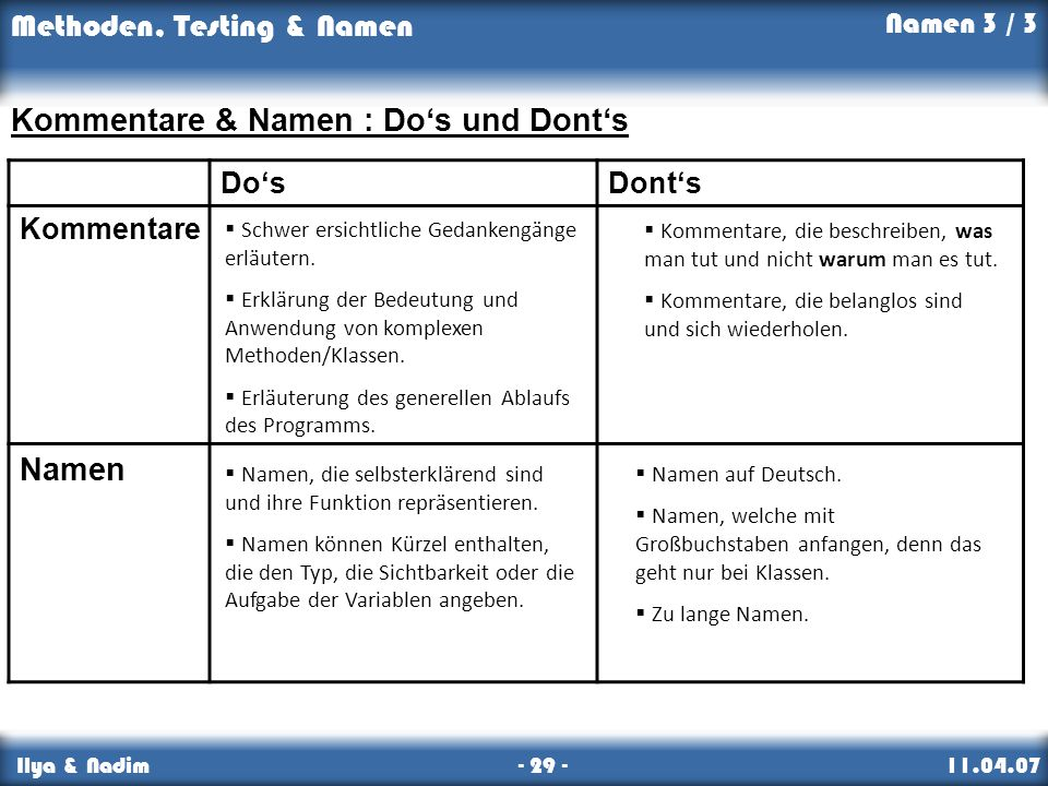 Kommentare & Namen : Do's und Dont's