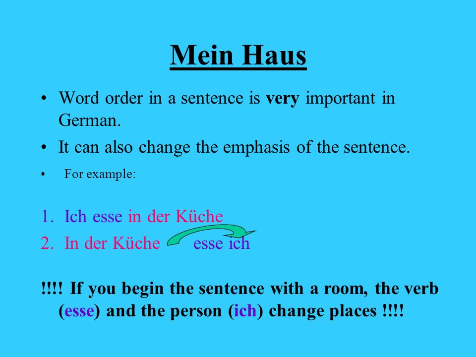 Mein Haus Word order in a sentence is very important in German.