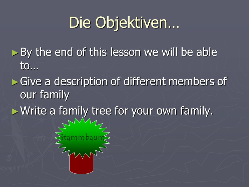 Die Objektiven… By the end of this lesson we will be able to…