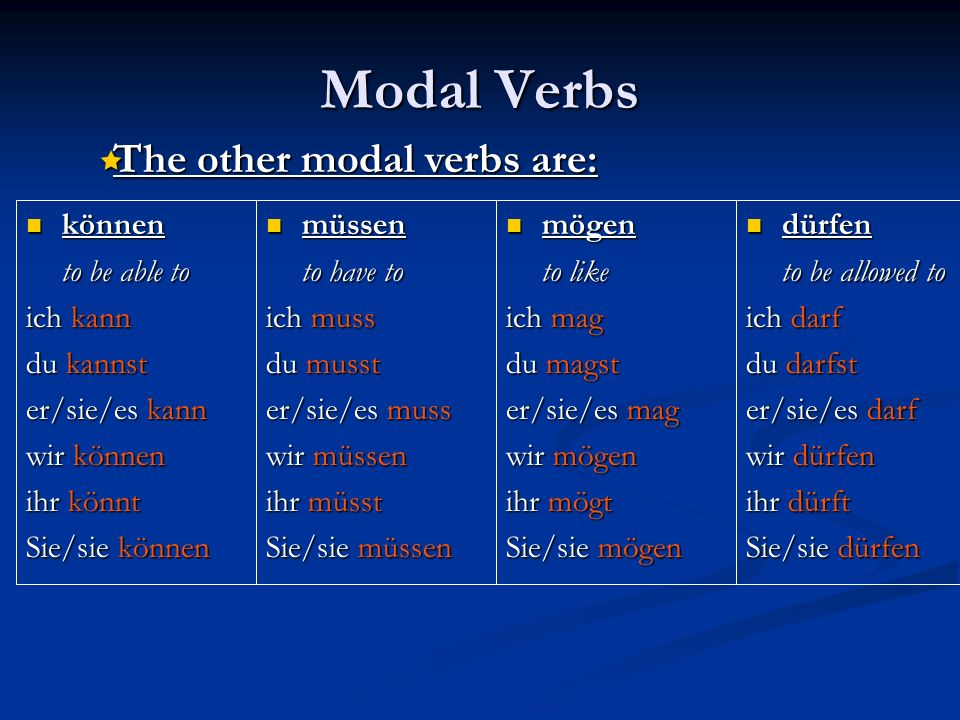 Modal Verbs The other modal verbs are: können to be able to ich kann