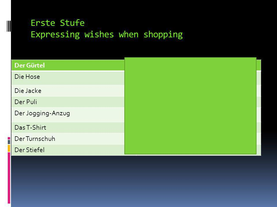 Erste Stufe Expressing wishes when shopping