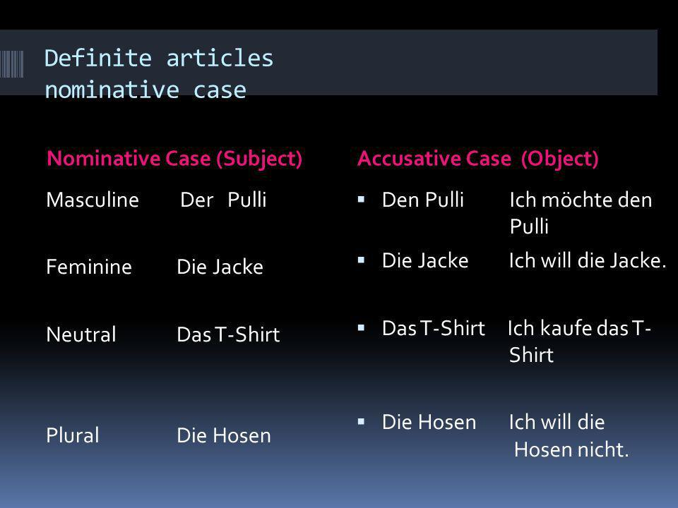 Definite articles nominative case