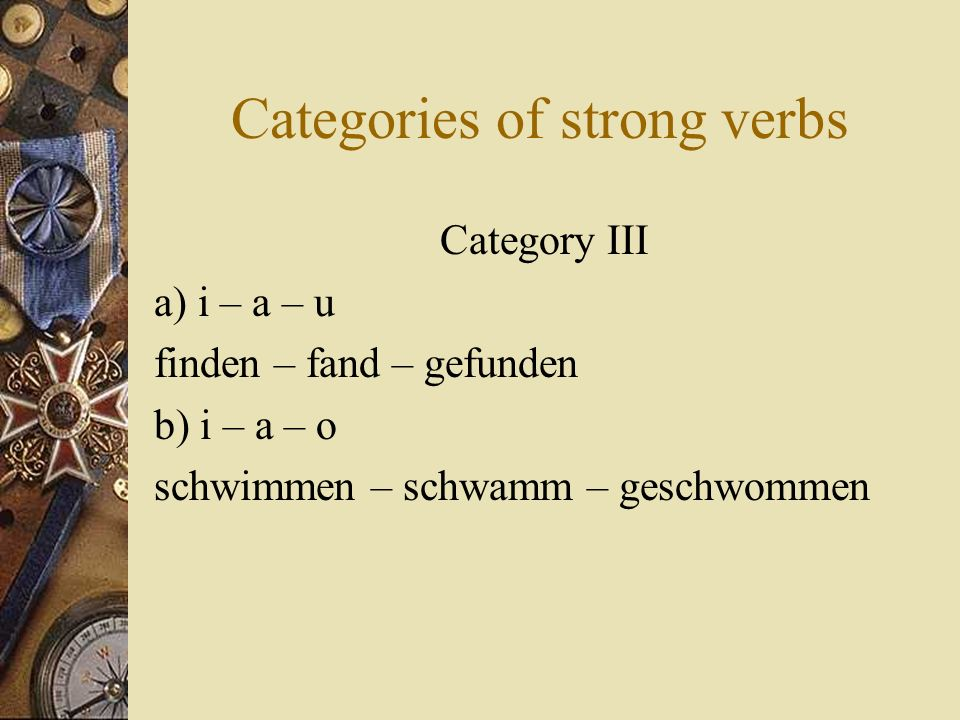 Categories of strong verbs