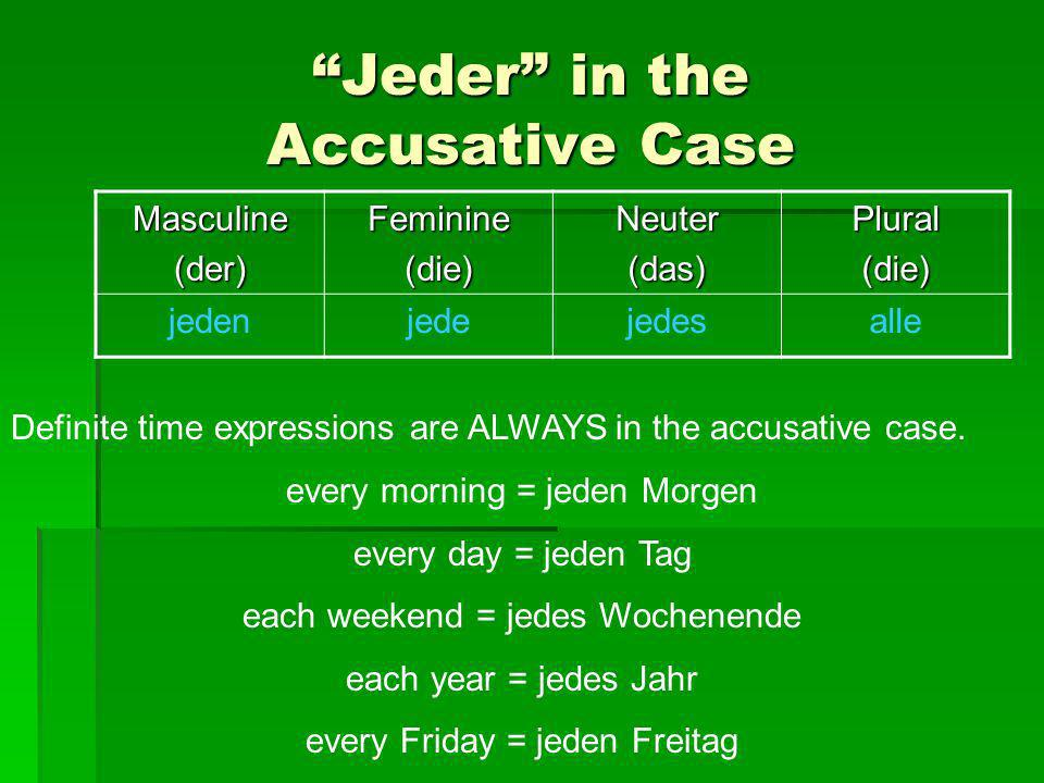Jeder in the Accusative Case