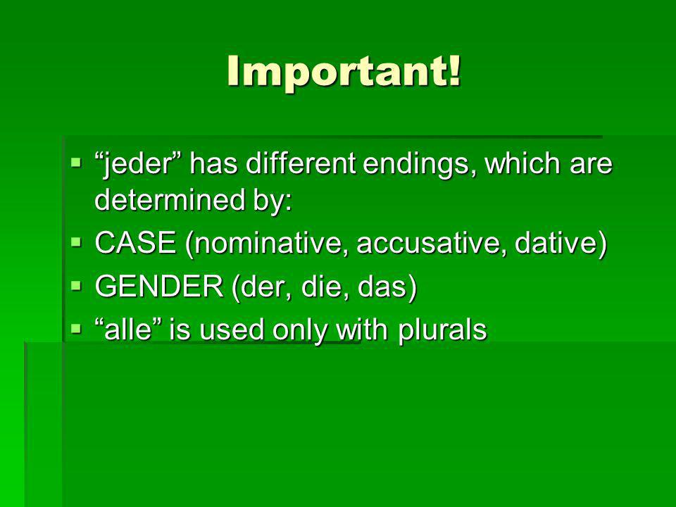 Important! jeder has different endings, which are determined by: