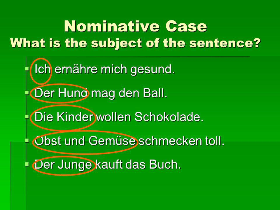 Nominative Case What is the subject of the sentence