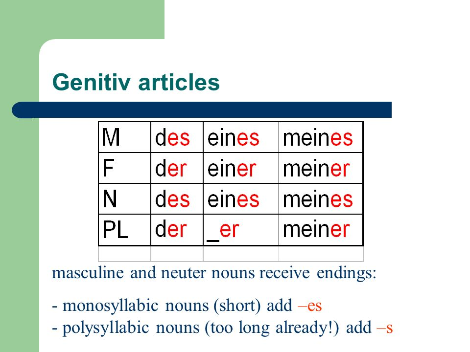 Genitiv articles masculine and neuter nouns receive endings:
