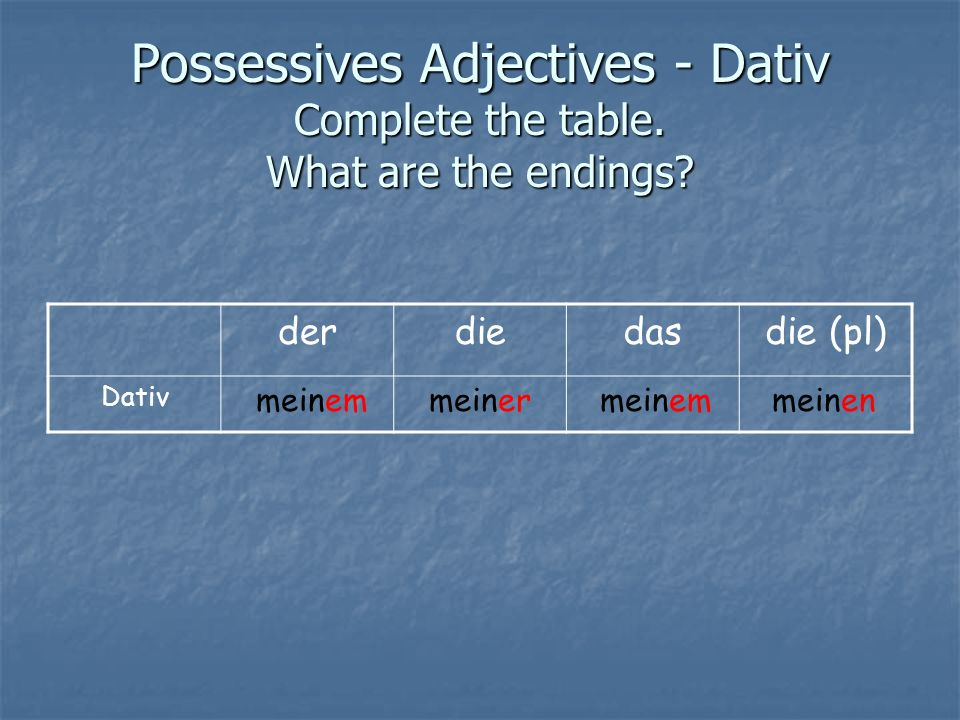Possessives Adjectives - Dativ Complete the table. What are the endings