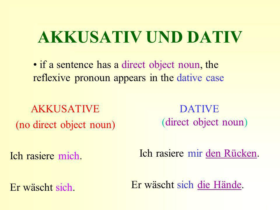 AKKUSATIV UND DATIV if a sentence has a direct object noun, the reflexive pronoun appears in the dative case.