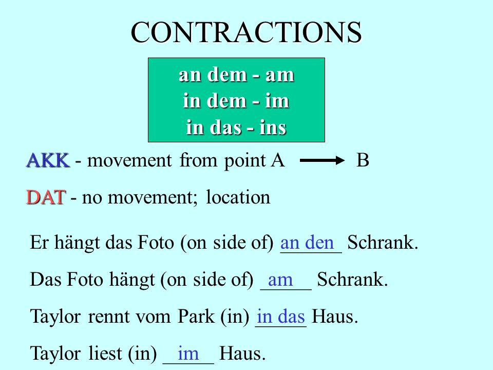 CONTRACTIONS an dem - am in dem - im in das - ins