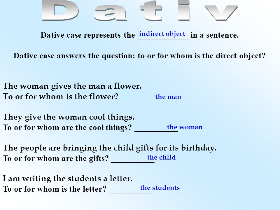 Dativ Dative case represents the ____________ in a sentence.