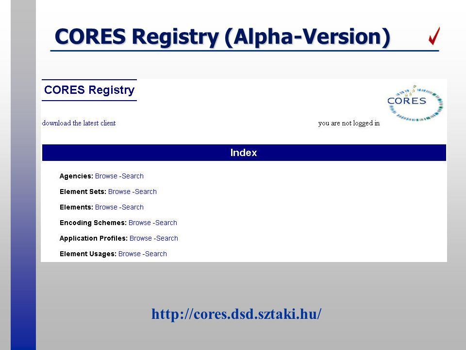 CORES Registry (Alpha-Version)