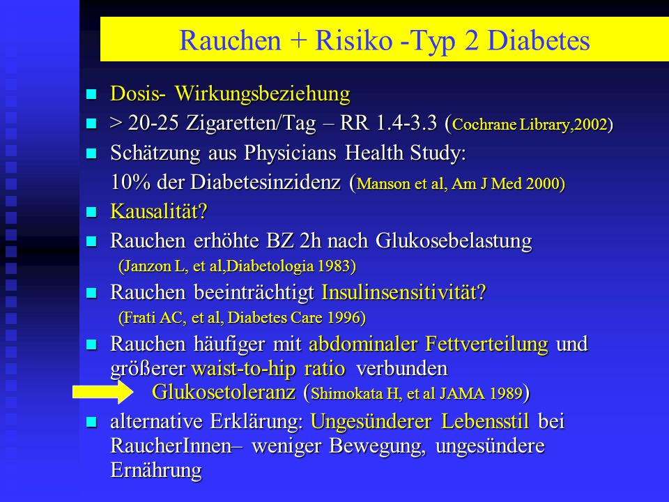 Rauchen + Risiko -Typ 2 Diabetes