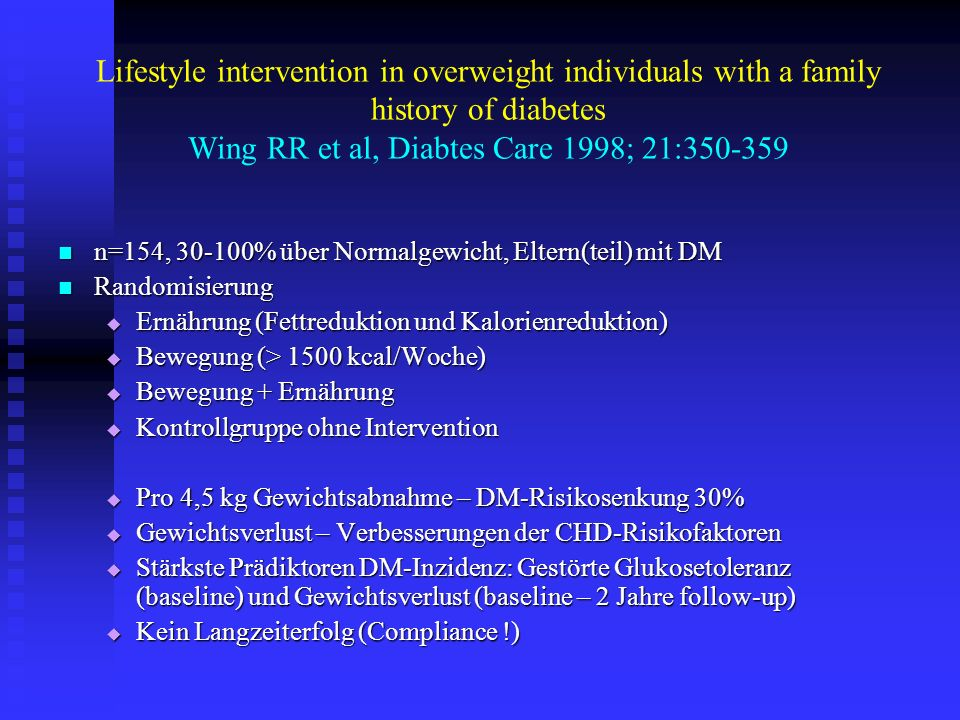 Lifestyle intervention in overweight individuals with a family history of diabetes Wing RR et al, Diabtes Care 1998; 21: