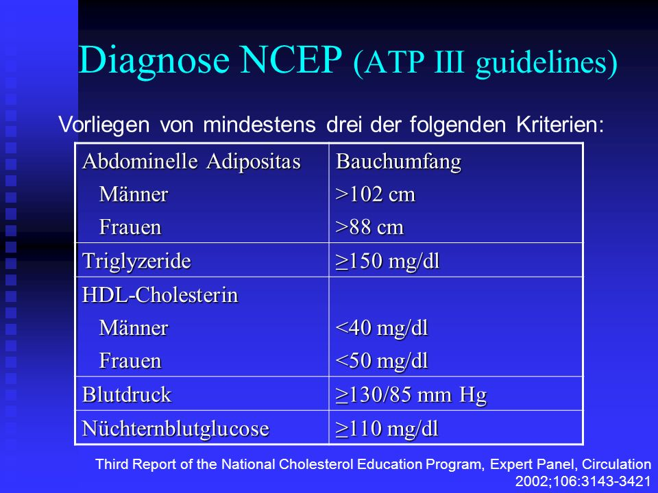 Diagnose NCEP (ATP III guidelines)