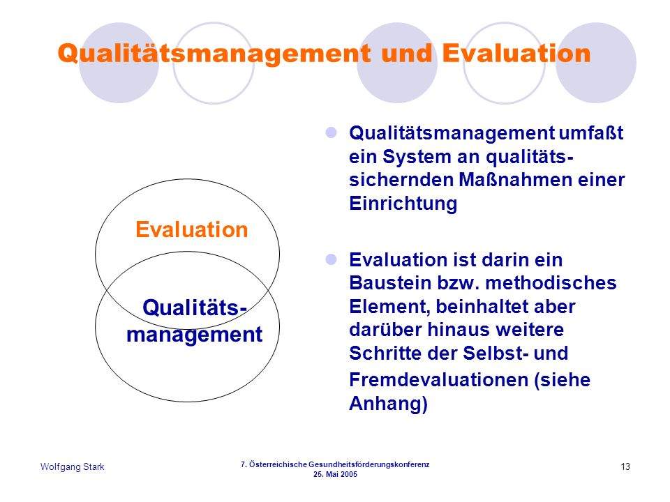 Qualitätsmanagement und Evaluation