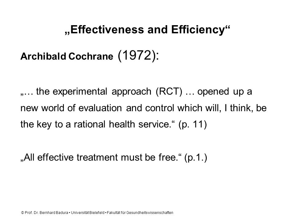 """Effectiveness and Efficiency"