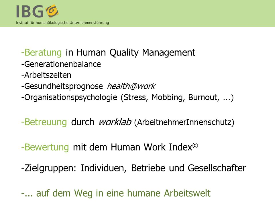 Beratung in Human Quality Management