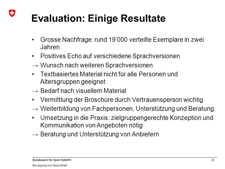 Evaluation: Einige Resultate