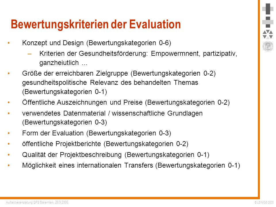 Bewertungskriterien der Evaluation