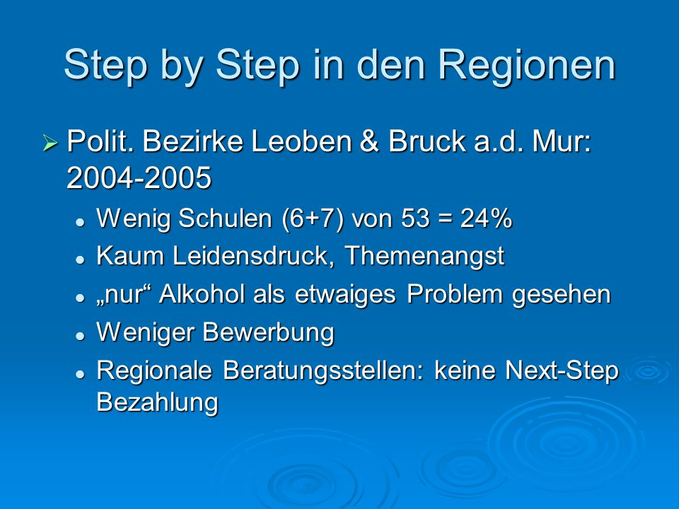 Step by Step in den Regionen