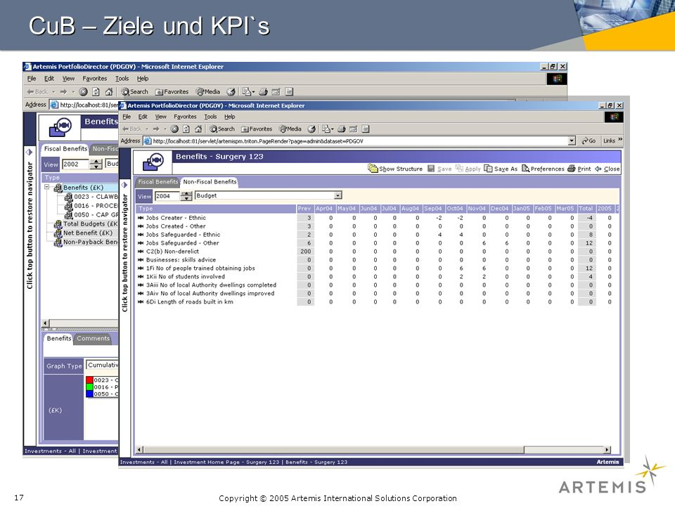 CuB – Ziele und KPI`s There are over 150 non-fiscal benefit types defined.