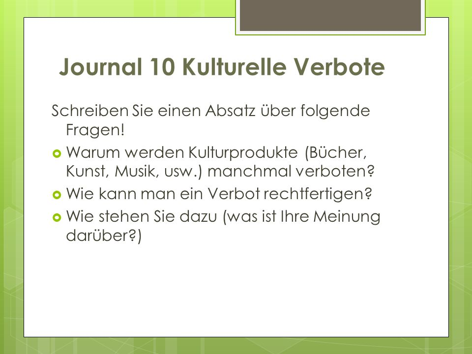 Journal 10 Kulturelle Verbote