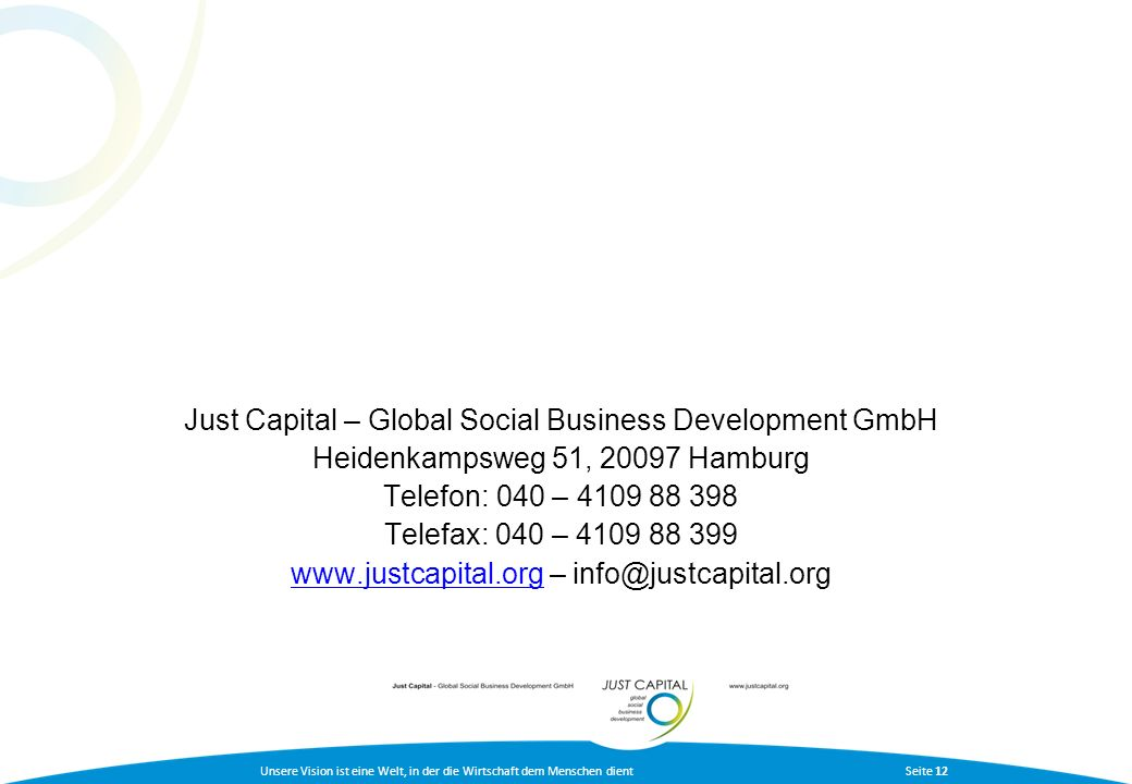 Just Capital – Global Social Business Development GmbH