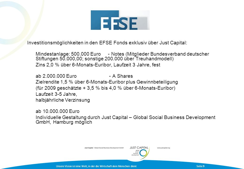 Investitionsmöglichkeiten in den EFSE Fonds exklusiv über Just Capital: