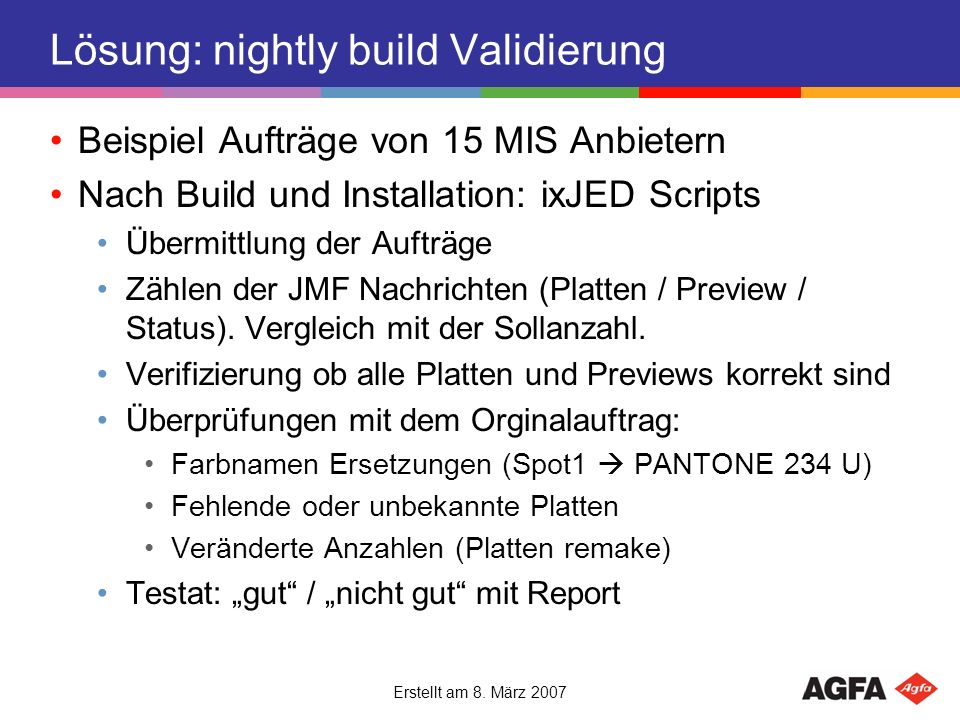 Lösung: nightly build Validierung