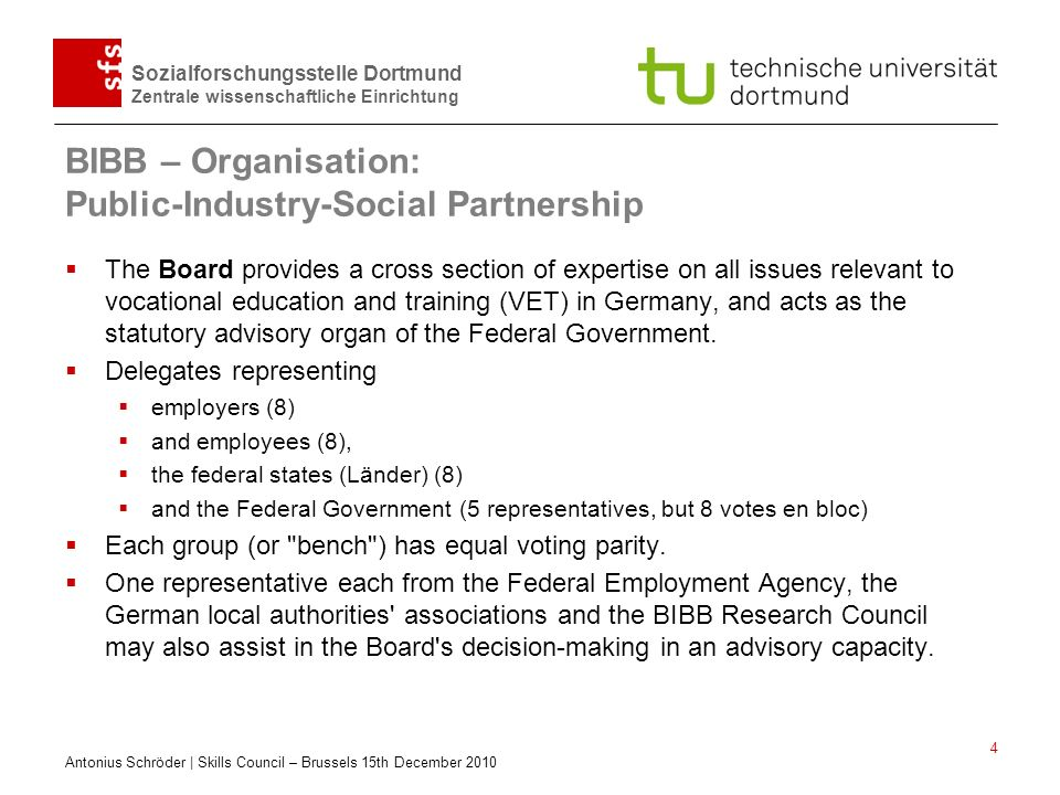 BIBB – Organisation: Public-Industry-Social Partnership