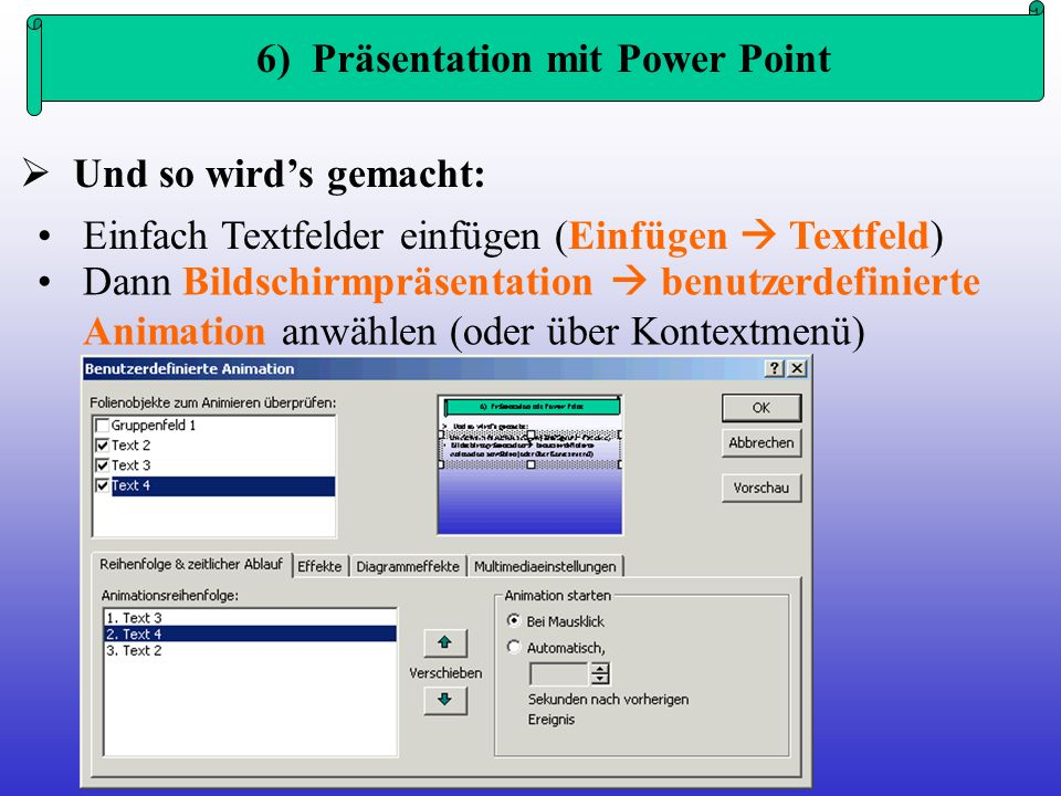 6) Präsentation mit Power Point
