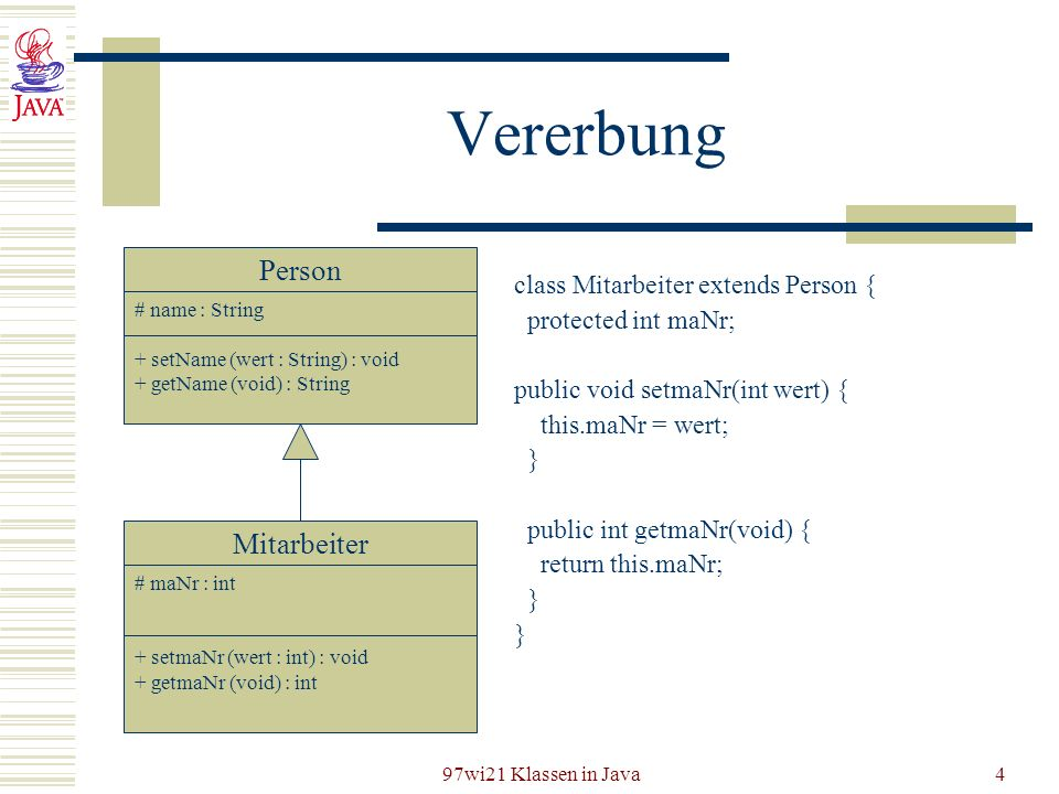 Vererbung Person Mitarbeiter class Mitarbeiter extends Person {
