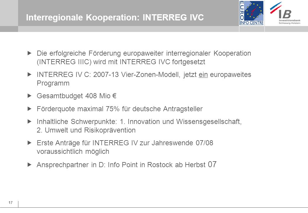 Interregionale Kooperation: INTERREG IVC