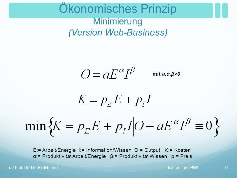 Ökonomisches Prinzip Minimierung (Version Web-Business)