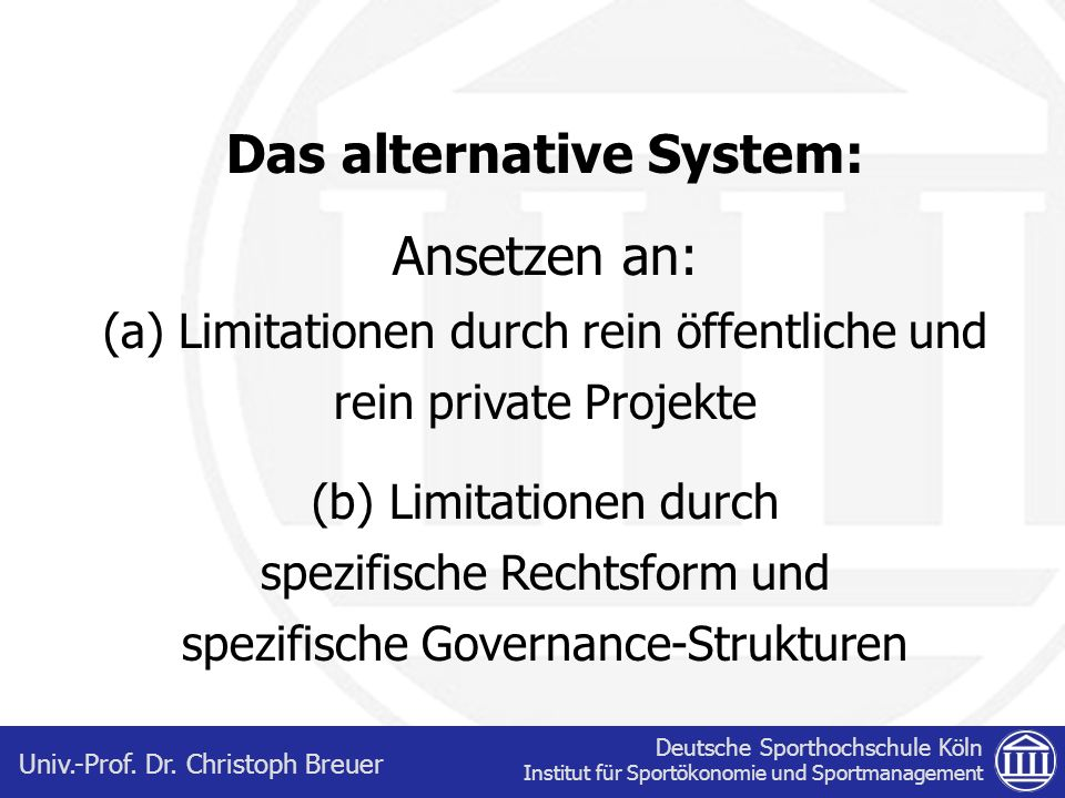 Das alternative System: