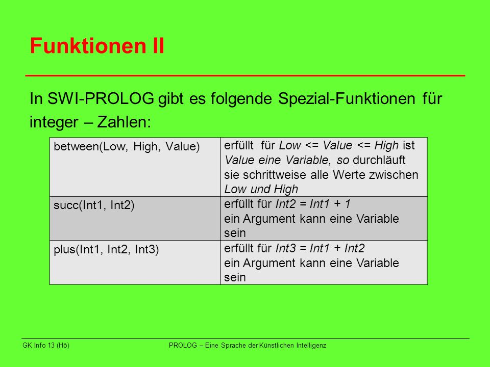 Funktionen II In SWI-PROLOG gibt es folgende Spezial-Funktionen für integer – Zahlen: between(Low, High, Value)