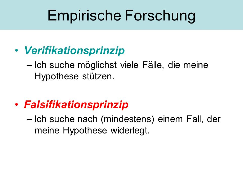 Empirische Forschung Verifikationsprinzip Falsifikationsprinzip