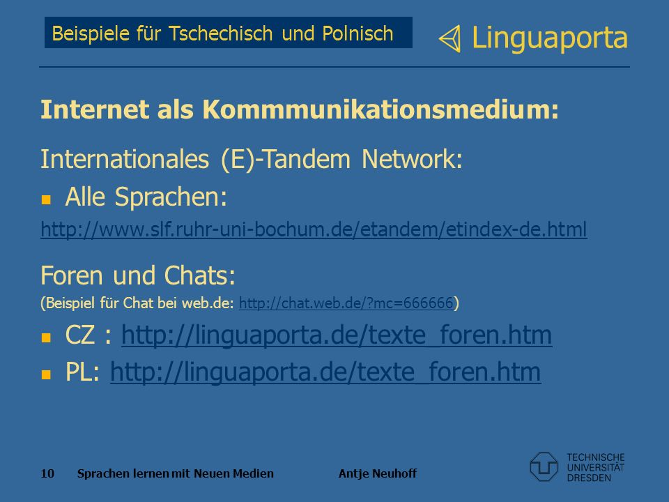 Linguaporta Internet als Kommmunikationsmedium: