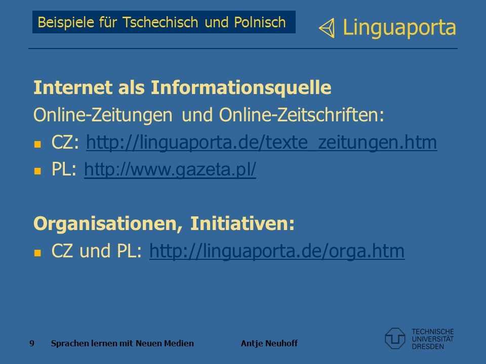 Linguaporta Internet als Informationsquelle