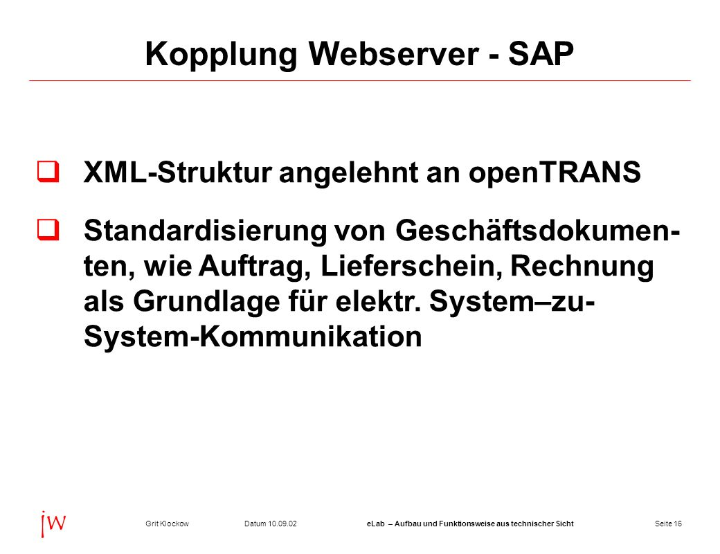 Kopplung Webserver - SAP
