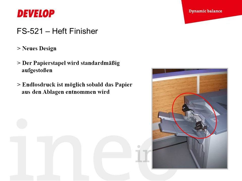 FS-521 – Heft Finisher > Neues Design