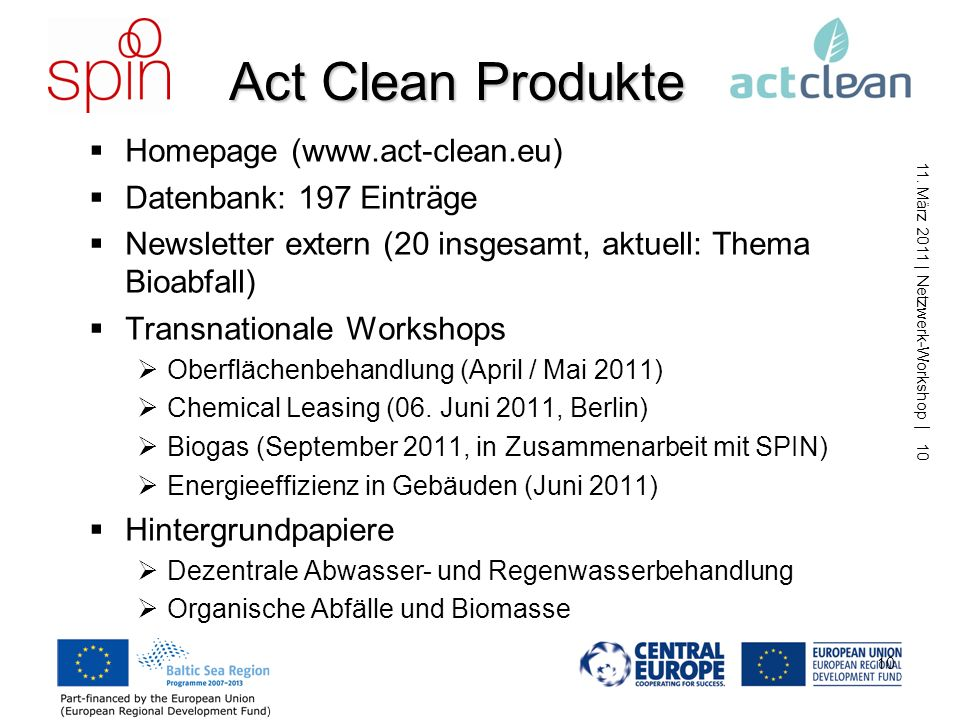 Act Clean Produkte Homepage (www.act-clean.eu) Datenbank: 197 Einträge
