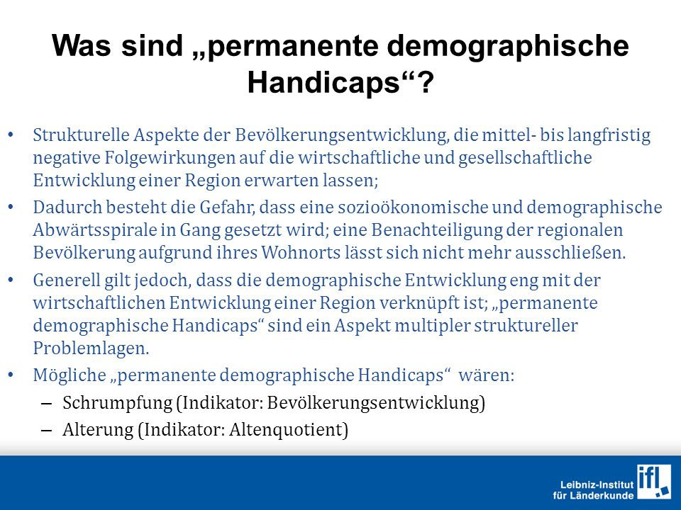"Was sind ""permanente demographische Handicaps"