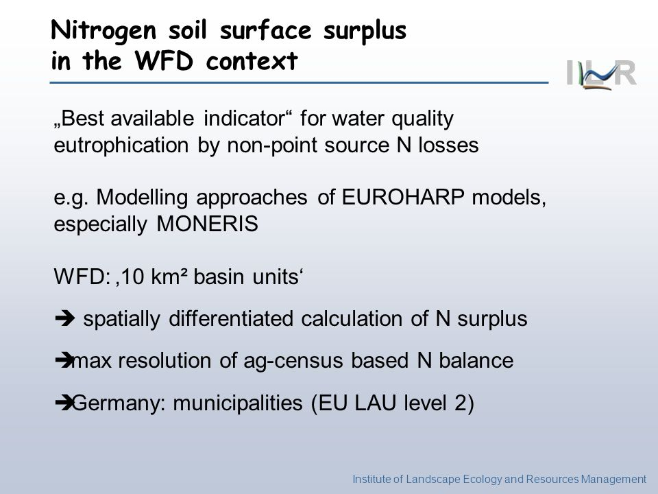 Nitrogen soil surface surplus in the WFD context