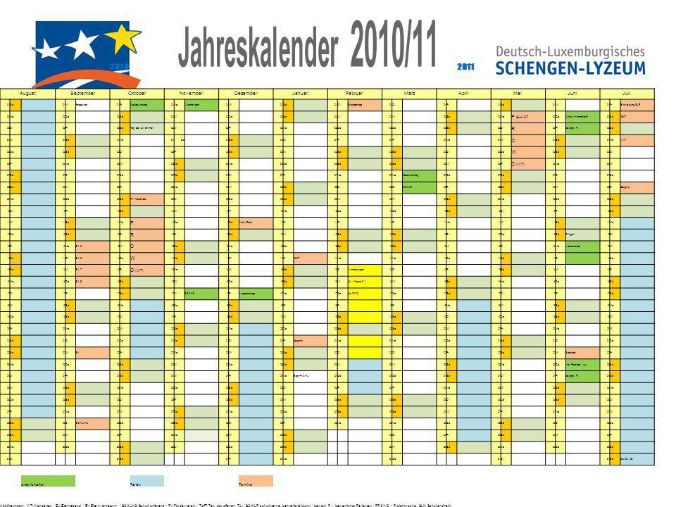 Jahreskalender 2010/ August September Oktober November
