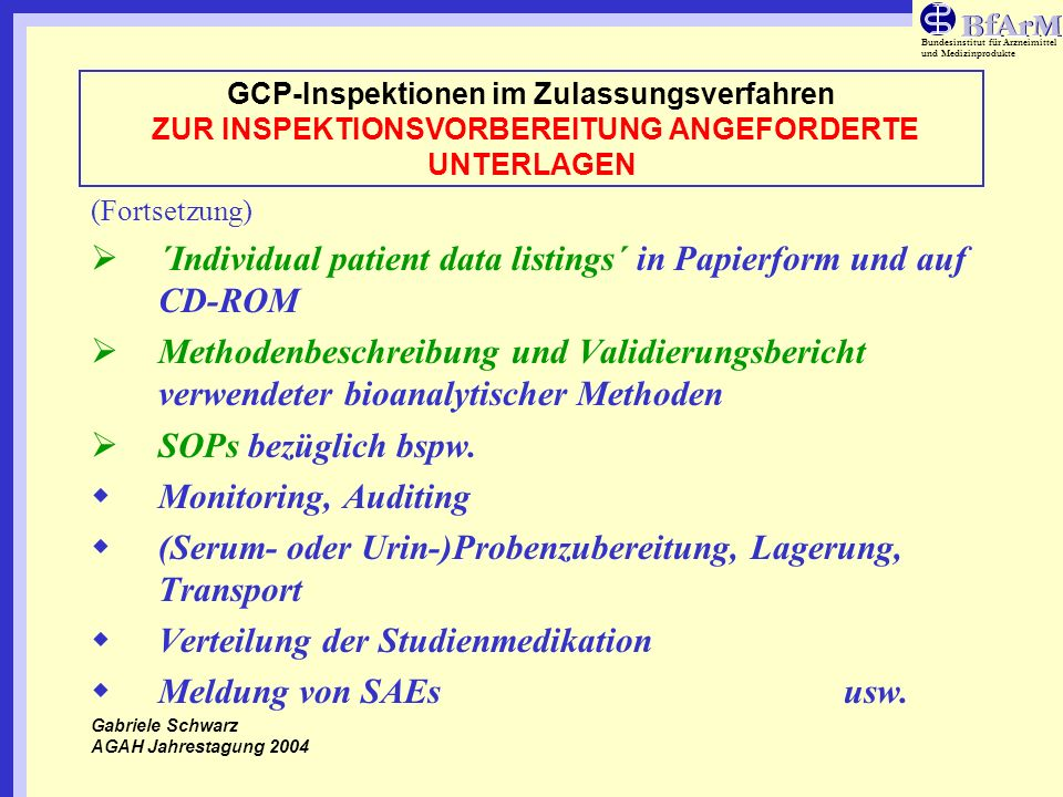 ´Individual patient data listings´ in Papierform und auf CD-ROM