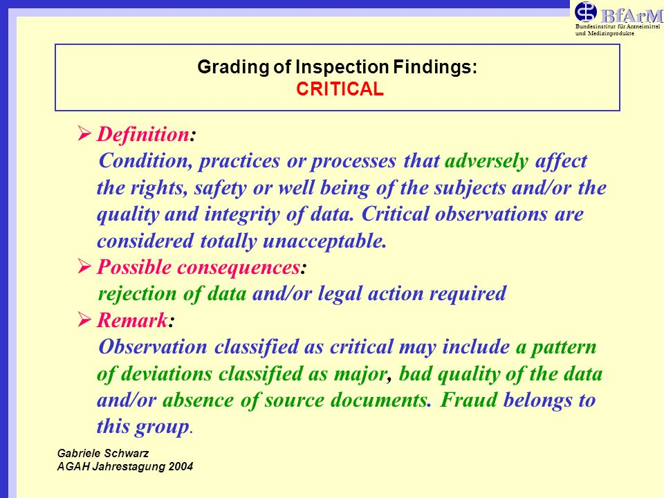 Grading of Inspection Findings: CRITICAL