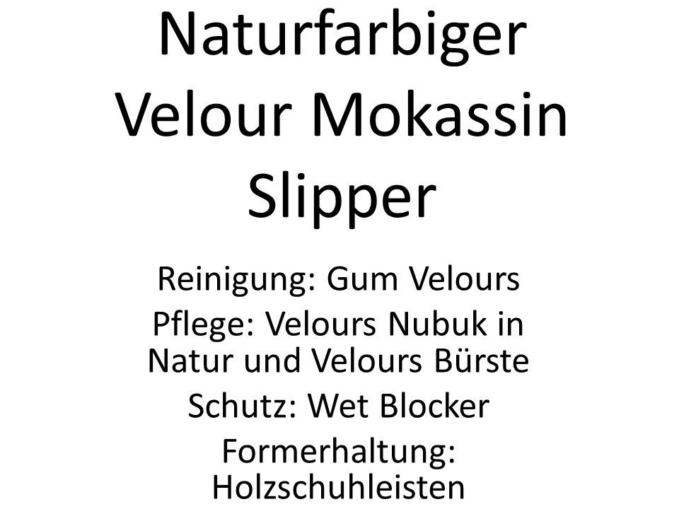 Naturfarbiger Velour Mokassin Slipper