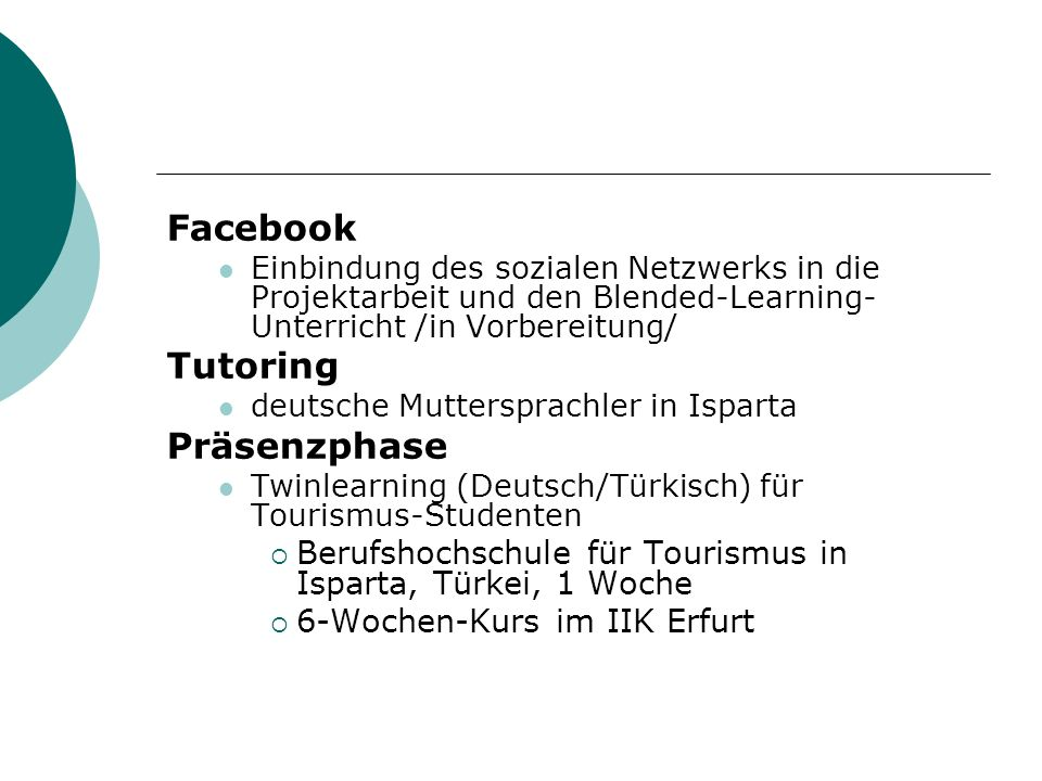 Facebook Tutoring Präsenzphase